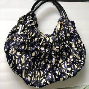 ELLE Satin blue and black swirl Hobo Satchel bag